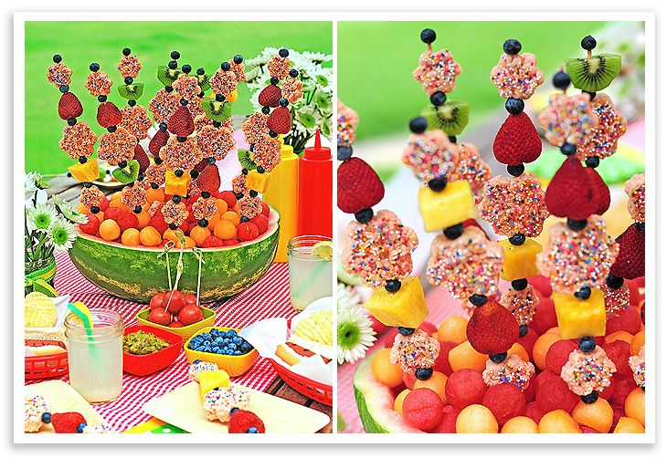 Rice krispies treats cut with cookie cutters, placed on skewers with fruit, and served in a watermelon.  Too cute!