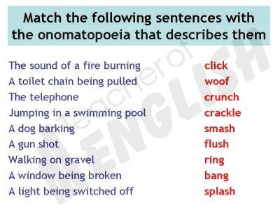 onomatopoeia examples in sentences - Google Search