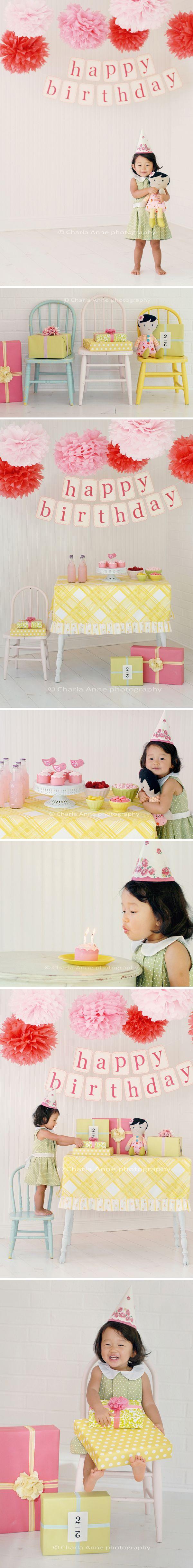 .: Baby Girl Birthday, 2Nd Birthday Girls Photography, Cutest Ideas, Parties Ideas Decor, Baby Girls Photo Shoots Props, Girls Birthday Parties, Baby Girls Birthday, Birthday Photos, Colors Chairs