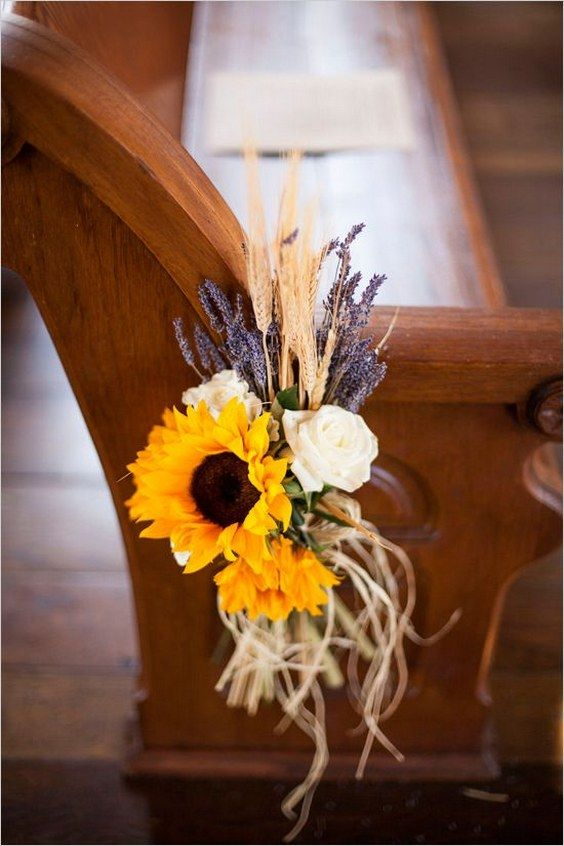 Simple sunflower wheat and lavendar aisle decor / http://www.deerpearlflowers.com/wheat-wedding-decor-ideas/