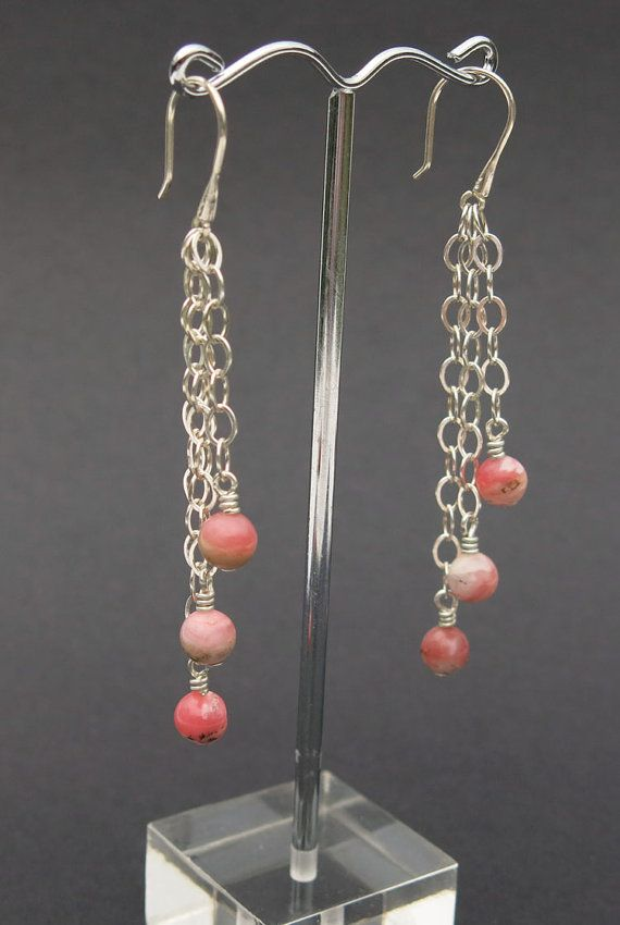 Pink Peruvian Opal & Sterling Silver Chain Drop Earrings