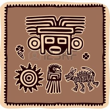 sol maya:  Conjunto de elementos de diseño mexicano Vectores