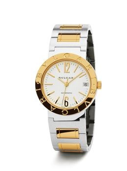 Bvlgari 18k Yellow Gold and Stainless Steel Watch. 18k Yellow Gold and Stainless Steel Automatic Watch with Date Display. Available at London Jewelers.