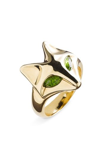Whimsical fox ring by Elizabeth and James. Gold-plate with chrome diopside eyes.