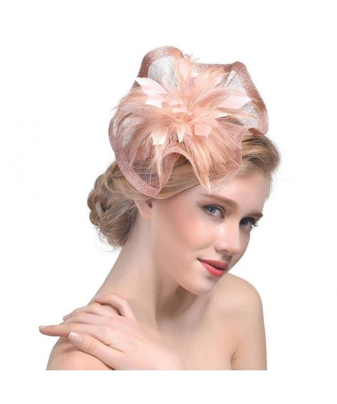 17f19fcf31466 Women Cocktail Party Feather Mesh Net Fascinator Hat Hair Clip Hat ...