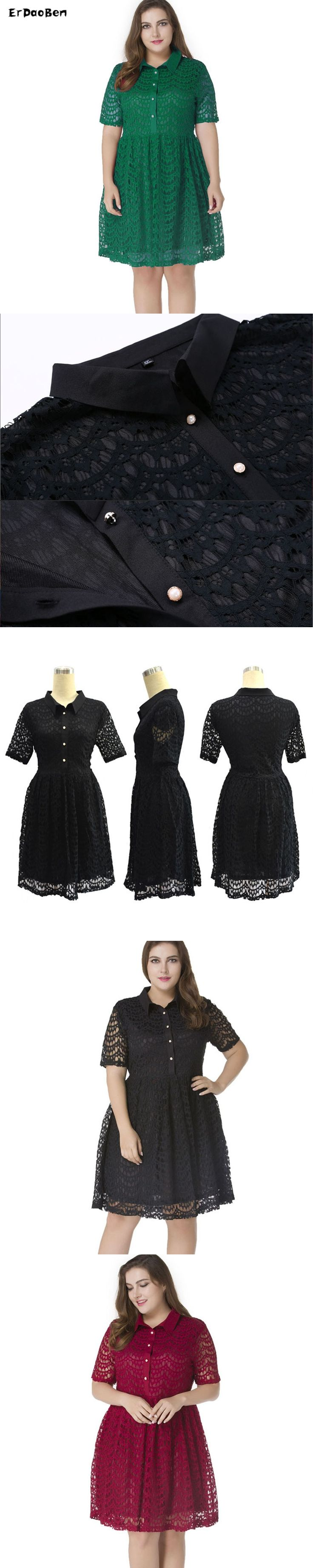 Women Black green Lace Hollow Mid Dress Autumn Elegant Casual A Line Slim Sexy Plus Size M-7XL Dresses Ropa Mujer Vestidos MM061