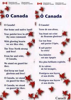 the letter from the Canadian Anthem available in English and French
