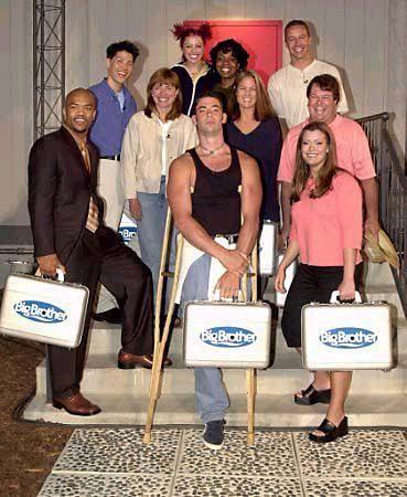 Cast of BIG BROTHER 1 (U.S.)   Top: Curtis, Brittany, Cassandra, and Josh. Middle: Karen, Jordan, and George. Bottom: William, Eddie (winner), and Jamie.