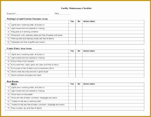 Facility Maintenance Checklist Template Awesome Facility Maintenance Checklist Template Format Checklist Template Maintenance Checklist Facilities Maintenance