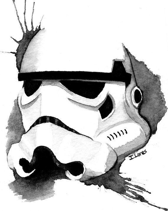 Stormtrooper 2 Watercolor art Print Empire Star Wars Decor paint