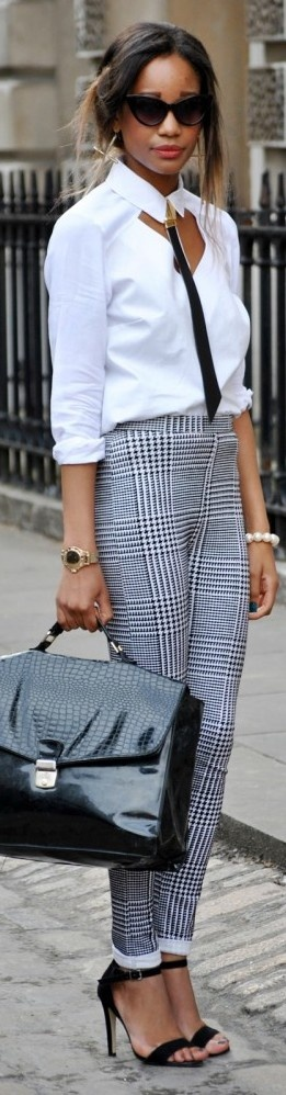 Work White Blouse Black and White Pants Houndstooth Pants Black Heels