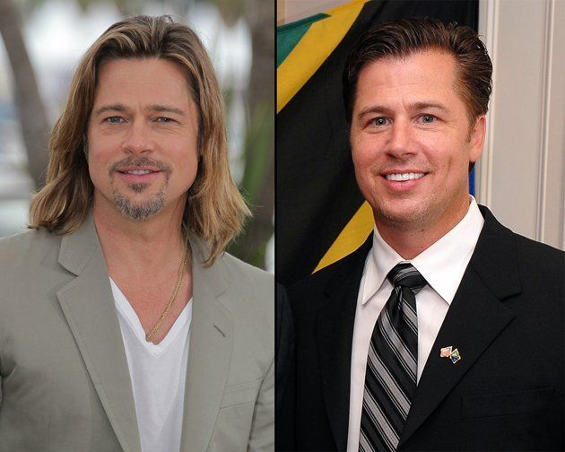 """Brad Pitt and his brother  Brad Pitt, who was Golden Globe nominated for his work in """"Moneyball,"""" isn't the only kid in the family. Doug Pitt is a philanthropist and businessman and looks strikingly similar to his famous brother."""