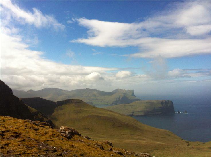 Walking from Gjógv. Faroe Islands.