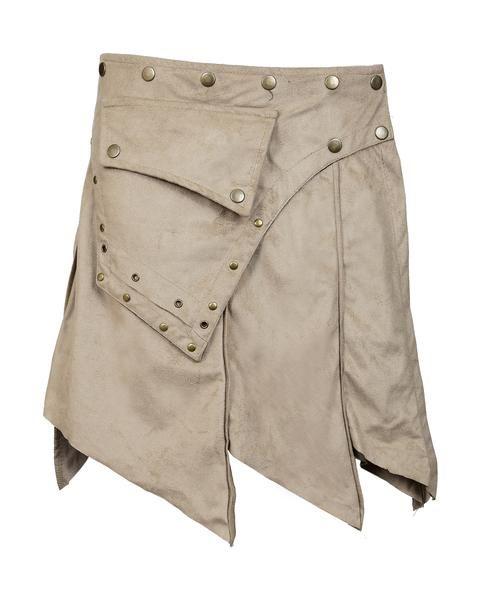 Ladies Suede Mini Skirt. Wrap Around Style With Button Closure Design