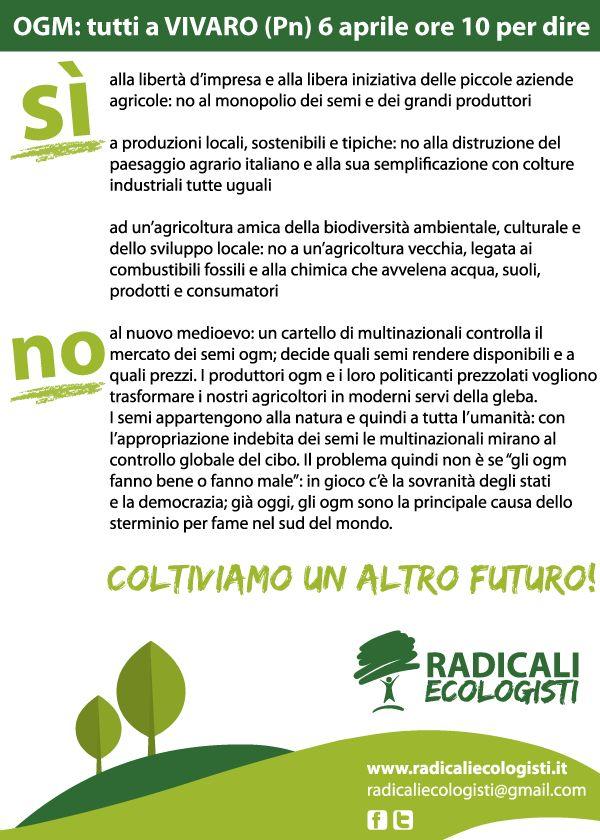 Domenica 6 aprile: tutti a Vivaro. Per un'agricoltura libera e sostenibile!