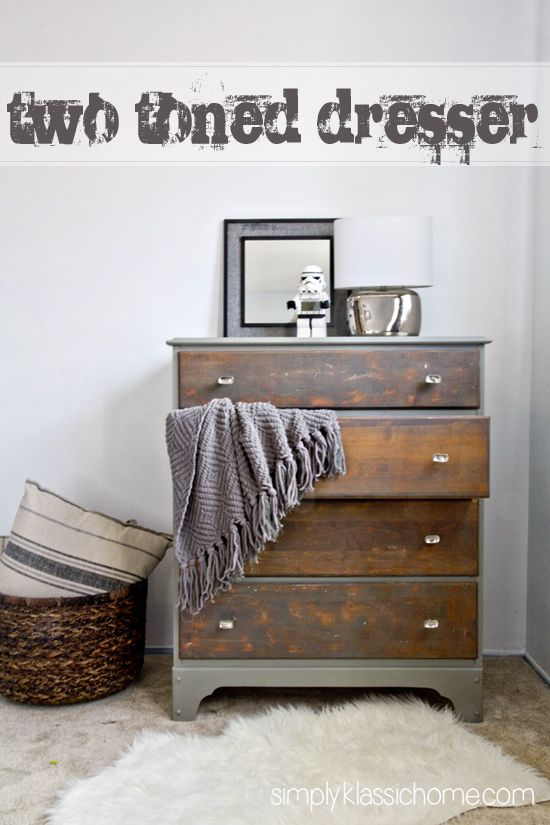 Simply Klassic Home: Two Toned Painted & Stained Dresser...I like the rustic look for the drawers and then the frame and sides of dresser painted....beautiful and organic