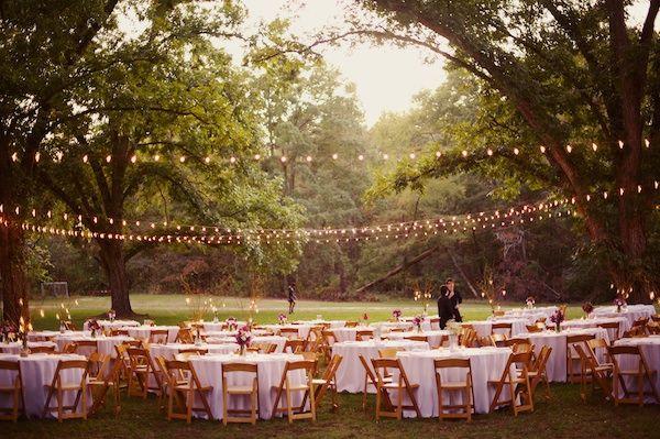 string lighting + outdoor reception | The Reason