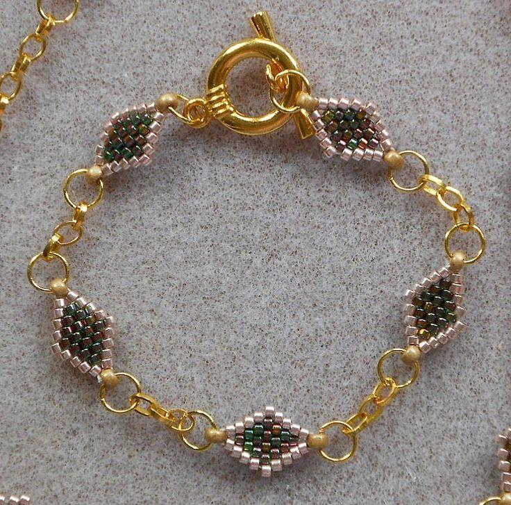 Peyote and Chain Bracelet
