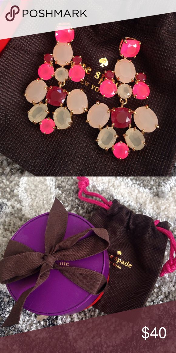 Kate Spade earrings Pink, blush and ruby jewels in gold plated setting. Excellent condition! Comes with jewelry bag and box. No trades! kate spade Jewelry Earrings