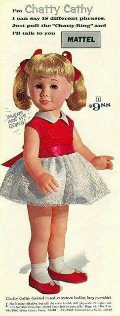 My Chatty Cathy Doll from when I was a little girl. I loved her, but my Mother called her ugly.