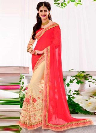 Amazing Pink  And Cream Half N Half Embroidery Work Designer Sarees  http://www.angelnx.com/Sarees
