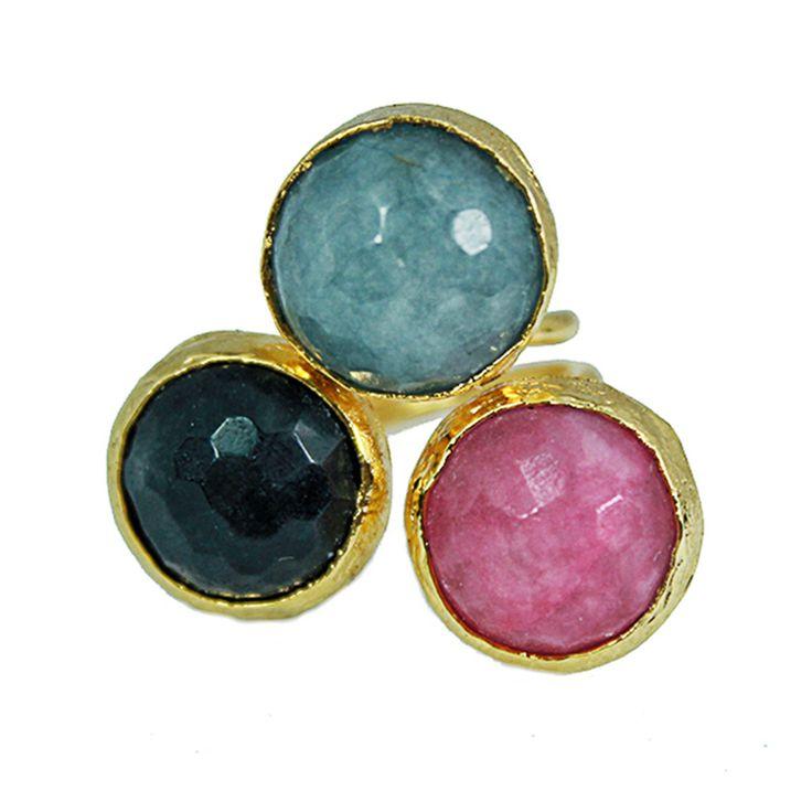 Espectacular anillo de estilo joyería turca, con incrustación de Aguamarina, Lapislázuli y Morganita