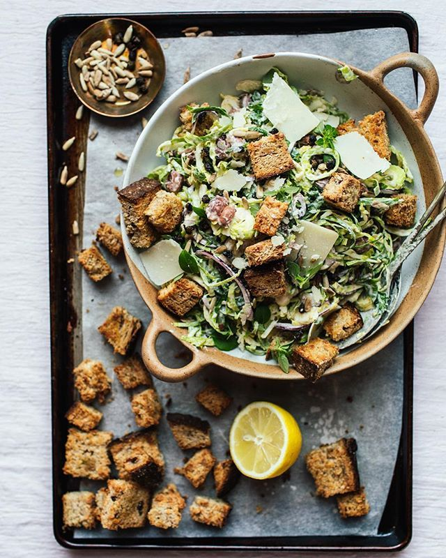 Brussels Sprout Caesar Salad (Vegetarian) - Izy Hossack - Top With Cinnamon