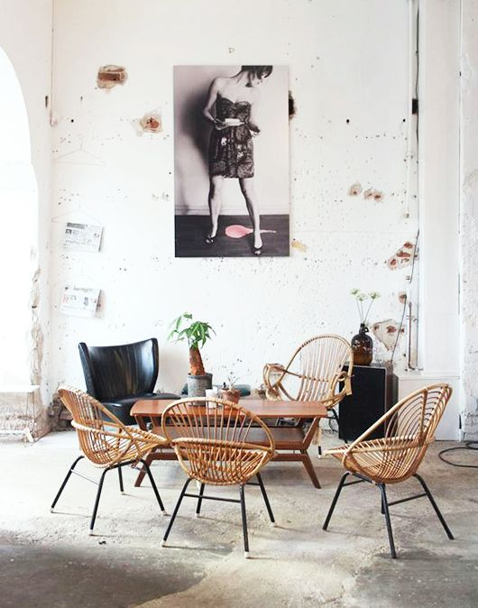 rattan chairs in loft space. / sfgirlbybay