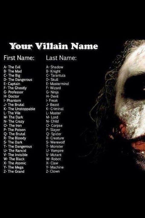 Find your Super-Villain name here   birthday ideas   Pinterest - photo#13