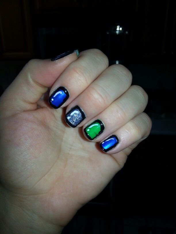 My nails for the 8-8-13 Seahawks game! Go Hawks!!!! Win