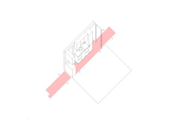 16eme Paris by BEMaa Appartment, Paris (F), 2014  The renovation of this apartment required a total re-organization of the spaces in order to add an extra bedroom and bathroom. Living, sleeping and bathrooms gravitate around a central band that orders these different spaces and acts as a circulation connector.