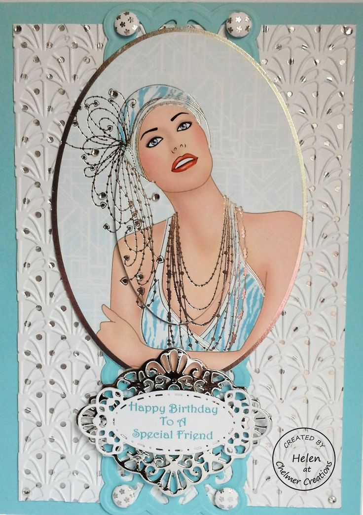 Art Deco lady Using Sue Wilson embossing folder, Hollywood strip die and silver layer behind the Spellbinders die for the sentiment. 060714