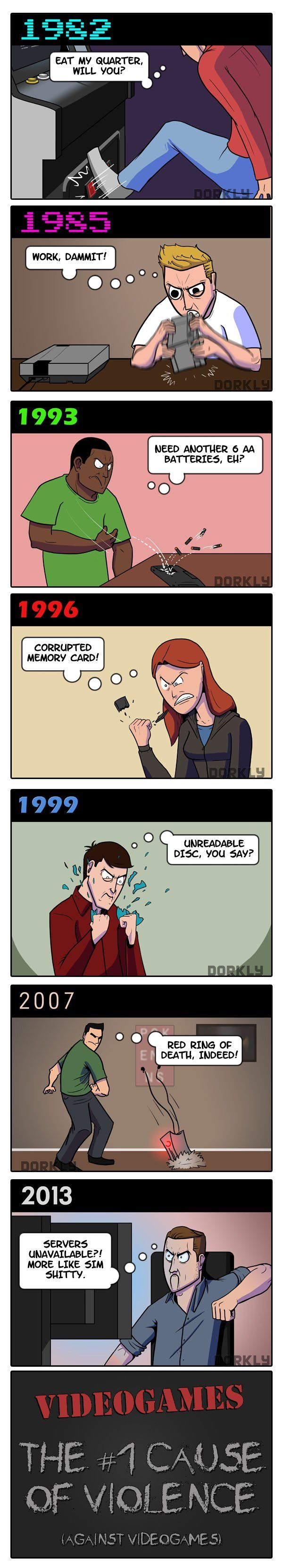 Dorkly Comic – Videogames: A History of Violence [Comic] hahahahahahahahahahaha thats how we become violent our gaming rage not the game itself