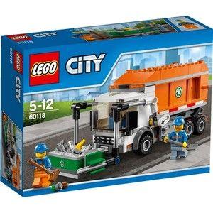 Help LEGO® City schoon te houden!Klim in de bestuurderscabine van de vuilniswagen en ga aan het werk! Rij door de straten van LEGO® City en verzamel al het afval. Parkeer naast een afvalcontainer en maak hem leeg in je vuilniswagen. Veeg gemorst afval netjes op en rij dan weer verder, op weg naar de volgende container! Er is nog werk aan de winkel! ~ Vuilniswagen met op en neer beweegbare lift en een container  met openend deksel, die kan worden leeg gekiept. ~ Til de container op met de…