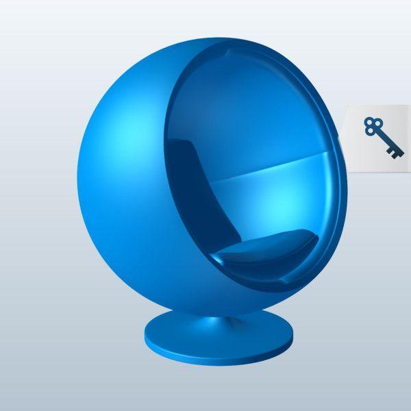 Egg Chair 3D Model Made with 123D MeshMixer