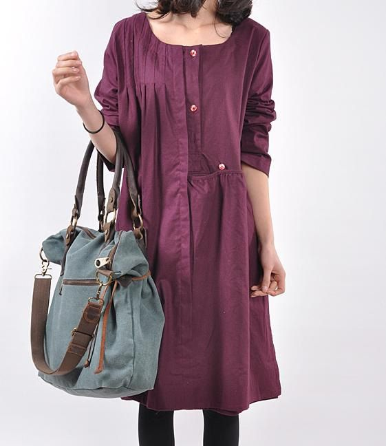 Linen pleated babydoll long sleeved dress by MaLieb on Etsy, $82.00