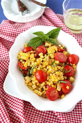 Grilled Corn Salad Recipe with Cherry Tomatoes & Basil, from Cookin' Canuck.