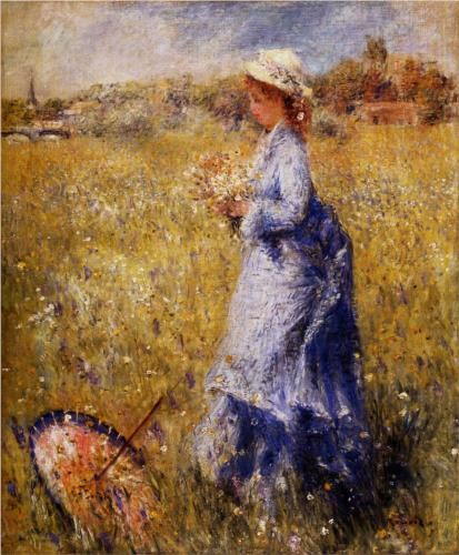 Girl Gathering Flowers - Pierre-Auguste Renoir.  I love the fallen parasol in the grass at her feet, and the wind at her back.