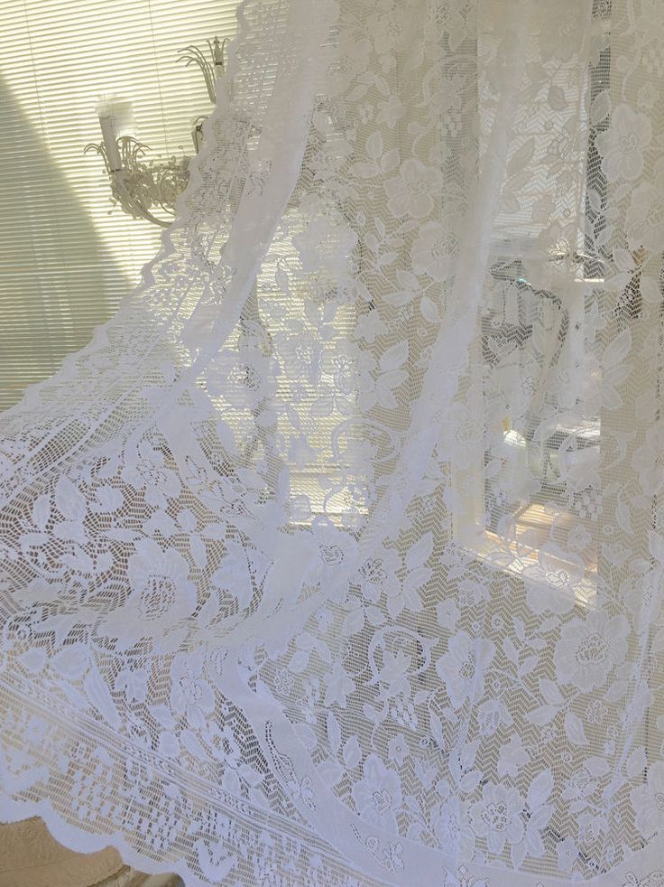 Shabby Hamptons Window Curtain Drape Vintage White Lace Panel Chic More Avail