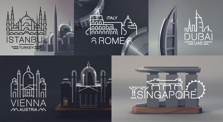 A beautifully minimalist souvenir set depicting architectural landmarks printable pinterest souvenir
