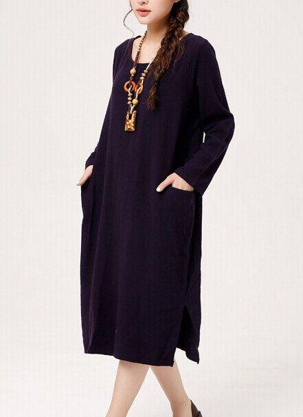 Cotone/lino moda blu/rosso laterale Slit Vintage blu abito autunno Abito manica lunga abito vintage donne abiti