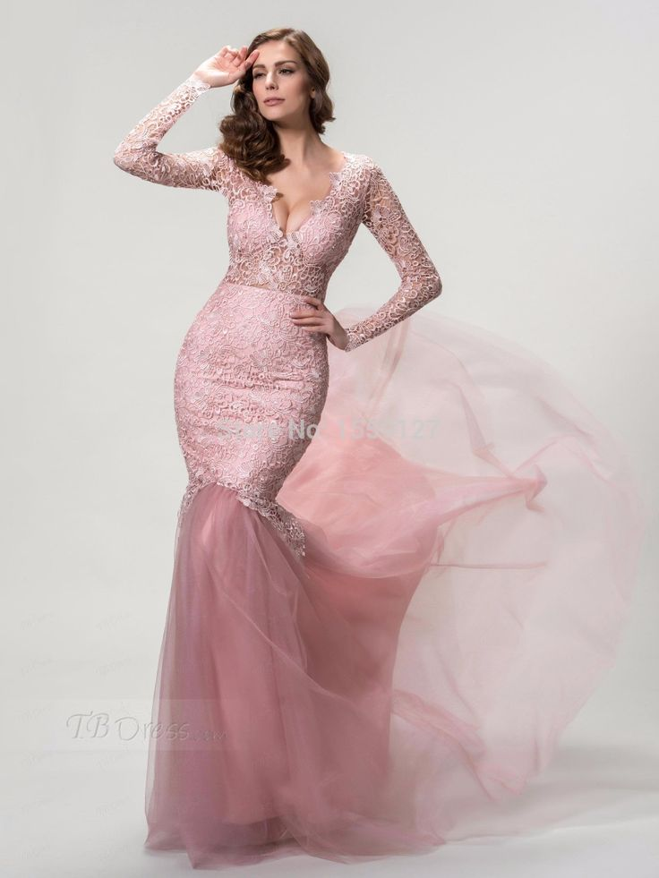 Aliexpress.com : Buy Pink Lace Deep V Neck Backless Long Sleeve Lace Prom Dresses Sexy Elegant Evening Dresses Plus Size Vestido De Novia from Reliable dress patterns prom dresses suppliers on idodress  | Alibaba Group