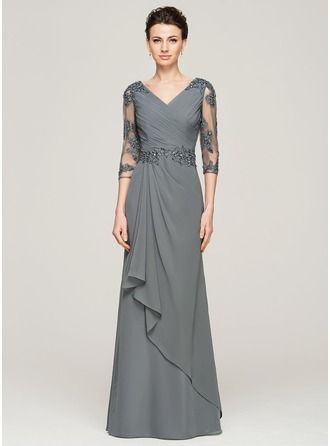 A-Linie/Princess-Linie V-Ausschnitt Bodenlang Chiffon Kleid für die Brautmutter mit Perlen verziert Applikationen Spitze Pailletten Gestufte Rüschen