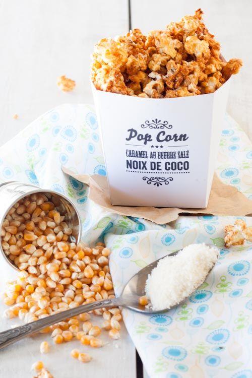Pop corn caramel-noix de coco maison !!