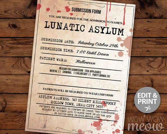 lunatic asylum halloween invitation party mental hospital printable instant download morgue submission tickets invites personalized editable - Halloween Name Ideas