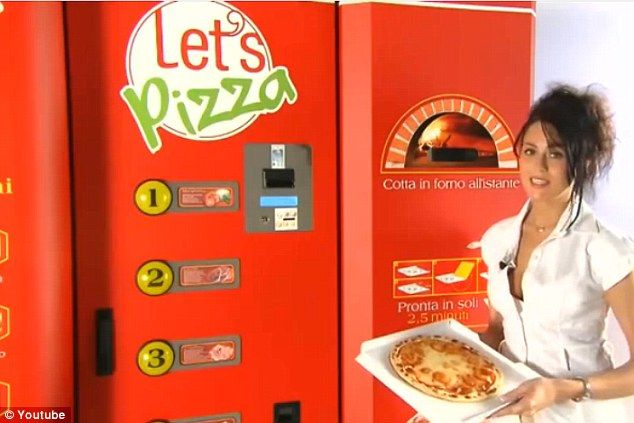 Ready in a flash: A pizza vending machine takes convenience food to a whole new level, delivering fresh pies to customers in just three minutes 24/7