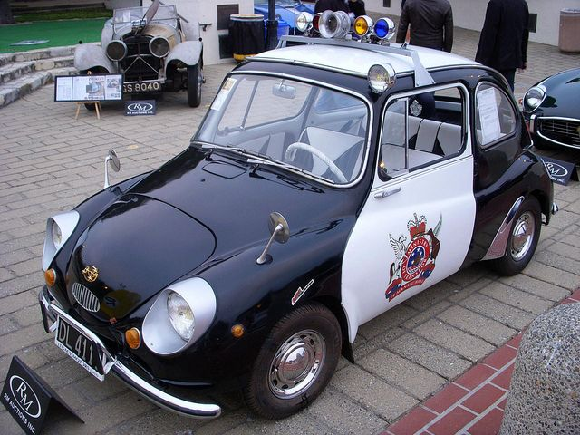 1970 Subaru 360 Police Car...wonder if they ever catch anyone running from them in this little cutie thing !!! ha ha