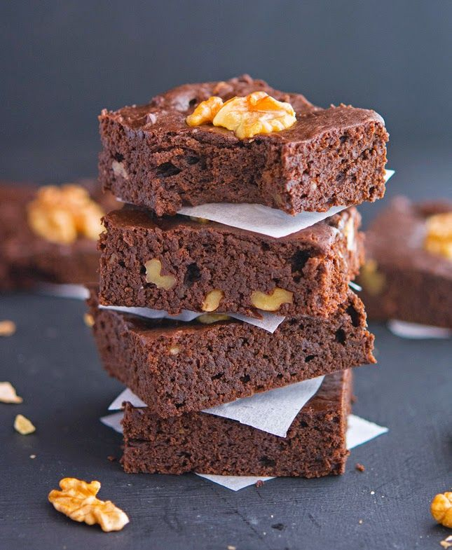 Chocolate-Walnut Avocado Brownies (Paleo & Vegan)