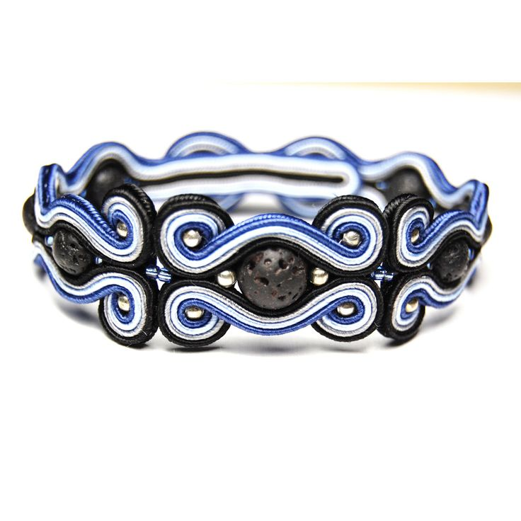 Soutache bracelet for men handmade elegant unique original jewelry for sale unique gift for man volcanic lava navy black gray silver by ForQueen on Etsy