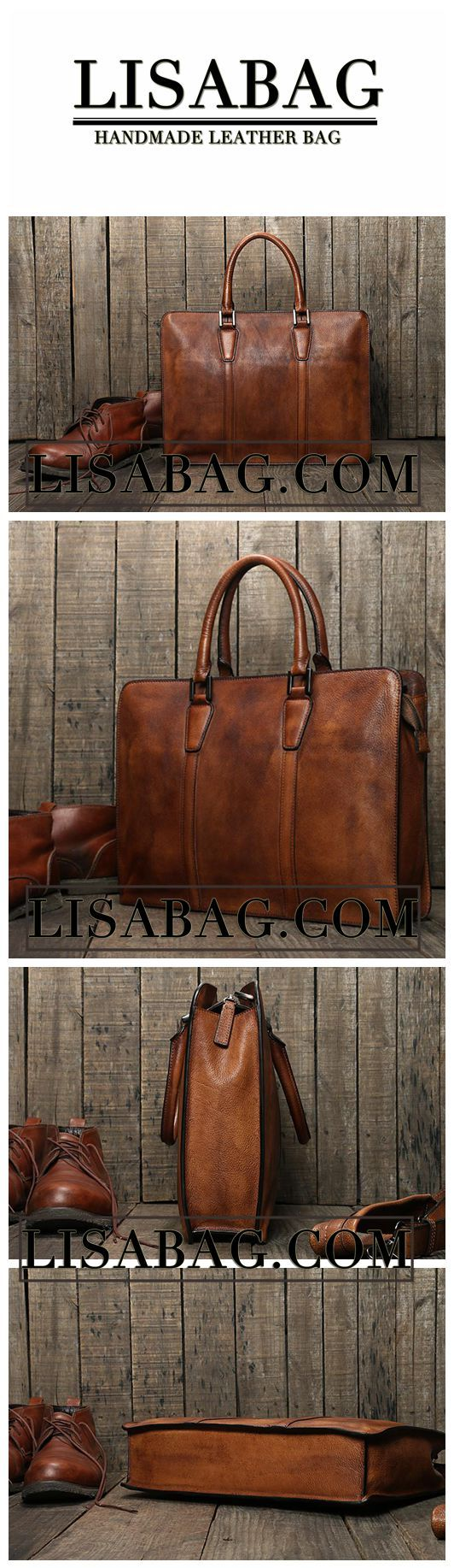 Handmade Vintage Genuine Leather Business Briefcase Men's Messenger Bag 14'' Laptop Bag NZ02